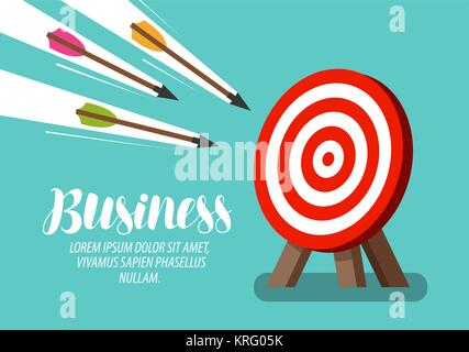 Target and flying arrows. Business concept. Vector illustration - Stock Photo