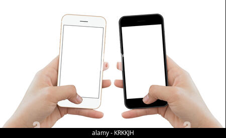 closeup hand hold phone isolated on white background, mock-up phone matte black and gold color white screen - Stock Photo