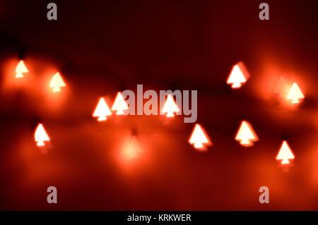 Christmas tree shaped lights, bokeh - Stock Photo