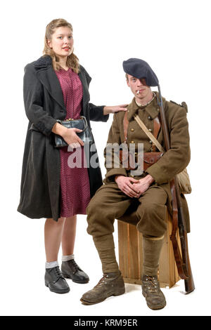 young French soldier and a young woman 1940's - Stock Photo