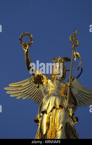 victory column with new gold, Berlin - Stock Photo