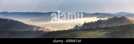 Spring mountain panorama. Foggy forest on hills in the morning - Stock Photo