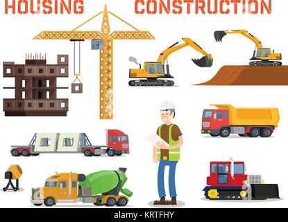 Construction machines builders and house building process. Process of building the house. Engineering measured, - Stock Photo