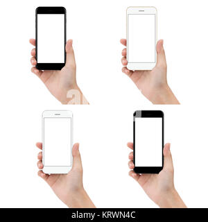 close up hand hold phone isolated on white background, mock-ups new smartphone blank screen - Stock Photo
