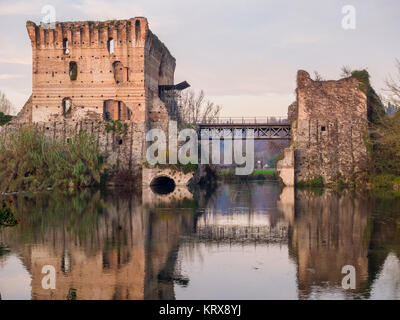 Bridge ruins reflections at Borghetto Valeggio sul Mincio near Mantova, Italy - Stock Photo