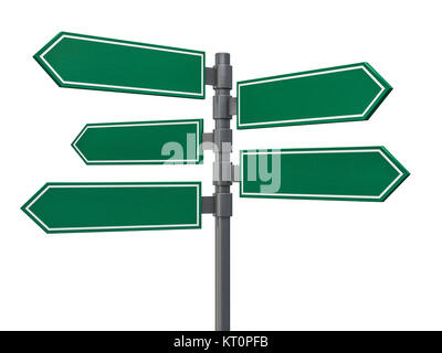 Blank signs pointing in opposite directions. 3D rendering - Stock Photo