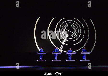 The legendary German electronic music band Kraftwerk performs a live concert Oslo Opera House. Kraftwerk is considered - Stock Photo