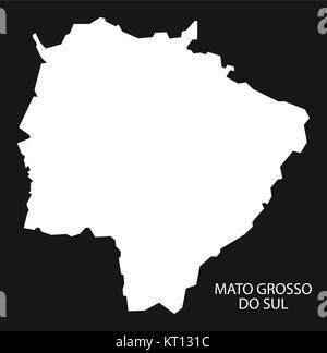 Mato Grosso do sul Brazil Map black inverted - Stock Photo