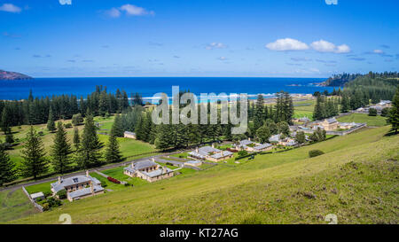 Norfolk Island, Australian external territory, view of historic buildings at Quality Row from Queen Victoria Lookout - Stock Photo