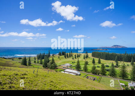 Norfolk Island, Australian external territory, view of the golf course and historic buildings at Quality Row from - Stock Photo