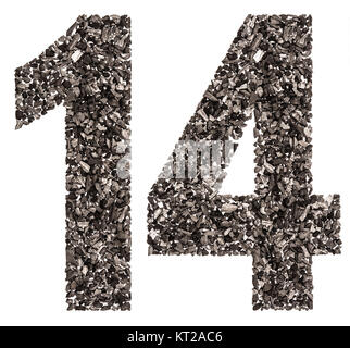 Arabic numeral 14, fourteen, from black a natural charcoal, isolated on white background - Stock Photo