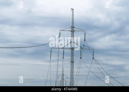 Construction of a high-voltage power line. - Stock Photo