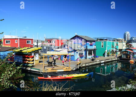 Colorful buildings at Fisherman's Wharf in Victoria BC,Canada. - Stock Photo