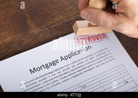 An Approved Stamp On Mortgage Application Form - Stock Photo