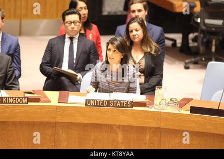 UN, New York, USA. 22nd Dec, 2017. Nikki Haley of US spoke in UN Security Council after North Korea sanctions adopted - Stock Photo