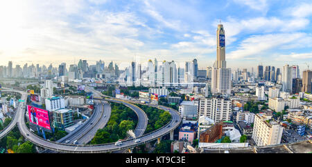 Bangkok city panorama and express ways from skyscraper in Thailand - Stock Photo