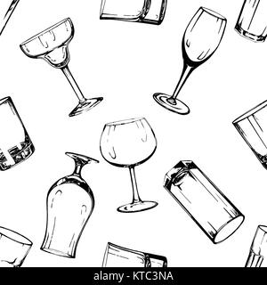 Seamless pattern of hand drawn sketch style glasses. Vector illustration isolated on white background. - Stock Photo