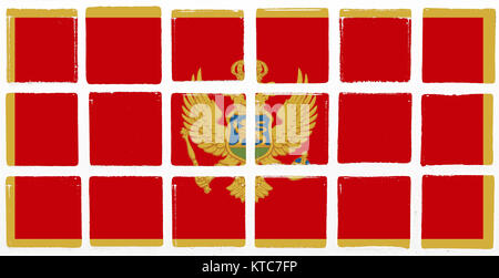 Glazed tiles montenegro flag - Stock Photo