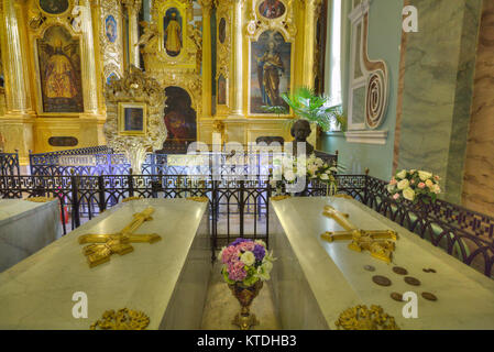 Tombs of Peter I (R) and Catherine ! (L), SS Peter and Paul Cathedral, St Petersburg, UNESCO World Heritage Site, - Stock Photo