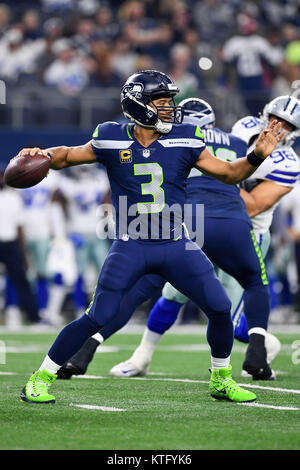 December 24, 2017: Seattle Seahawks quarterback Russell Wilson (3) passes the ball during an NFL football game between - Stock Photo
