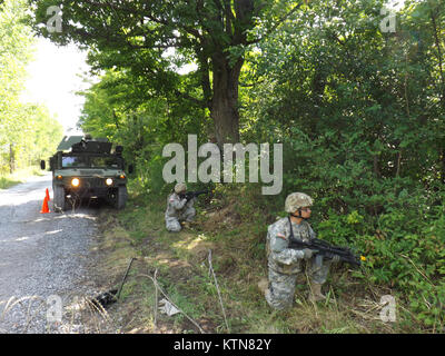 FORT DRUM-- New York Army National Guard Soldiers of the 101st Expeditionary Signal Battalion set up a traffic control - Stock Photo