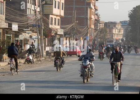 Traffic street scene on winters day in Kathmandu, Nepal - Stock Photo