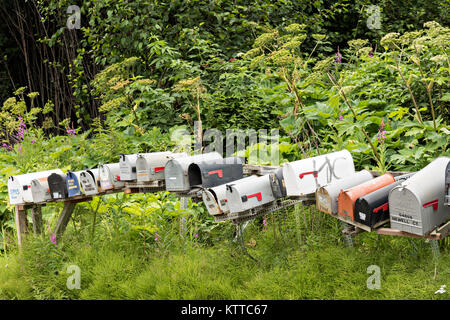 Rural mailboxes line a street corner in remote Fritz Creek, Alaska. - Stock Photo