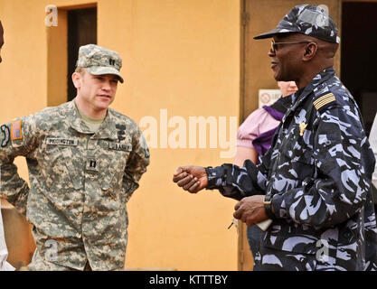 SEVARE, MALI – Army Cpt. Timothy Piddington, from Stamford Conn. with the 369th Sustainment Brigade, New York National - Stock Photo