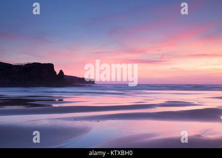 Praia da Borderia beach at sunset, Carrapateira, Costa Vicentina, west coast, Algarve, Portugal, Europe - Stock Photo