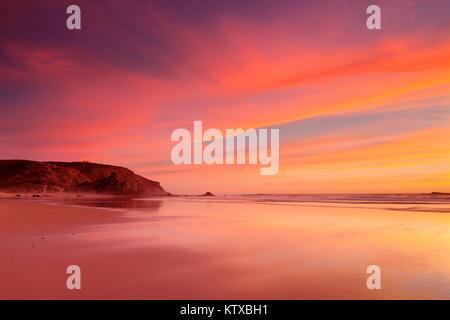 Praia do Amado beach at sunset, Carrapateira, Costa Vicentina, west coast, Algarve, Portugal, Europe - Stock Photo