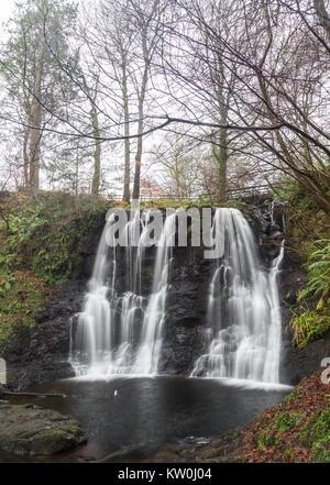 Ess na crub waterfall in Glenariff Forest Park - Stock Photo