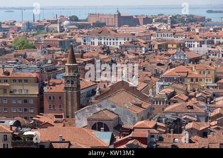 An aerial view of the Chiesa di San Moisè as seen from the Campanile, in the San Marco district of Venice - Stock Photo