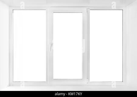 White plastic triple door window isolated on white background. closed door - Stock Photo