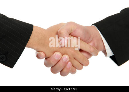 Hand shake between a businessman and a businesswoman - Stock Photo