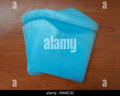 Blue plastic CD sleeves A - Stock Photo