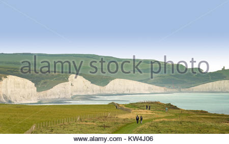 Views of the Seven Sisters Cliffs, Birling Gap and the Belle Tout Lighthouse seen from the Seaford Head coastal - Stock Photo