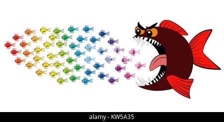 Predatory fish chasing shoal of fish - comic illustration. - Stock Photo
