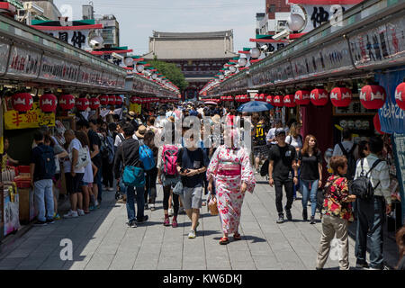 Tokyo - Japan, June 19, 2017; The approach from Kaminarimon Gate to Hozomon Gate is Nakamise dori, shopping street - Stock Photo