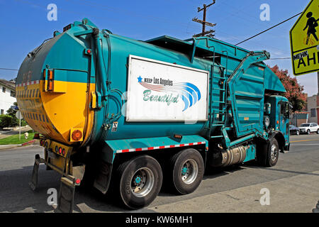 'Keep Los Angeles Beautiful'  sign on the side of a garbage collection or recycling truck in Los Feliz neighborhood - Stock Photo