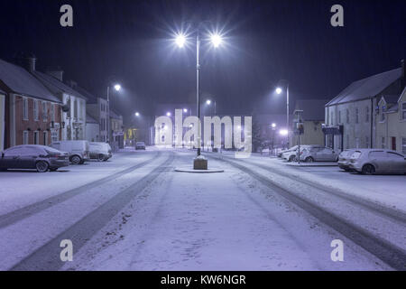 Ballinakill Village Portlaoise in winter snow, a small rural village in the Irish Midlands - Stock Photo
