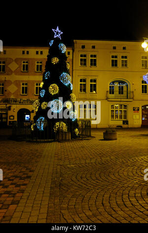 Lubliniec by night at Christmas - Poland Europe - Stock Photo