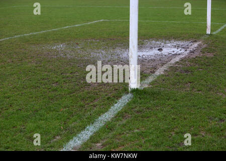 The Bosham vs Lancing United football match was cancelled due to this  waterlogged pitch. - Stock Photo