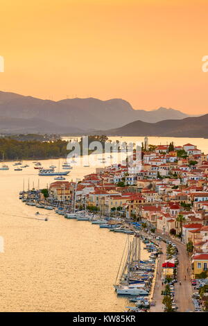 Poros Island at sunset time, Argolida, Peloponnese, Greece - Stock Photo