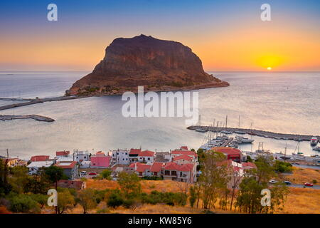 Monemvasia at sunrise, Peloponnese, Greece - Stock Photo