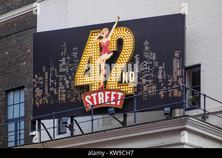 42nd Street musical large illuminated sign outside Theatre Royal, Drury Lane, Covent Garden, London, UK - Stock Photo