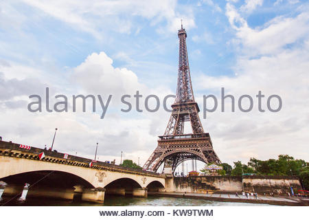 Walk on the ship on the river Seine in Paris. Travel through Europe. Eiffel Tower against the sky in Paris. Attractions - Stock Photo