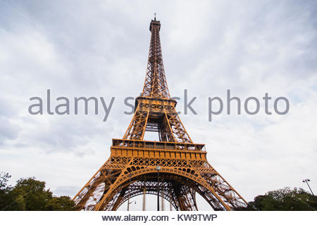 Travel through Europe. Eiffel Tower against the sky in Paris. Attractions in France - Stock Photo