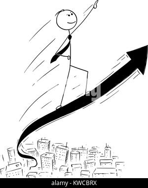 Cartoon stick man drawing conceptual illustration of businessman ride high on the rising arrow graph. Concept of - Stock Photo