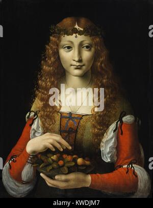 GIRL WITH CHERRIES, by Ambrogio de Predis, 1491–95, Italian Renaissance painting, oil on wood. The artist Ambrogio - Stock Photo