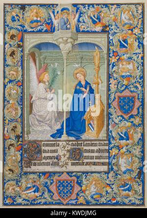 BELLES HEURES OF JEAN DE BERRY, by Limbourg Brothers, 1405-09,French painting, Northern Renaissance. An Annunciation - Stock Photo